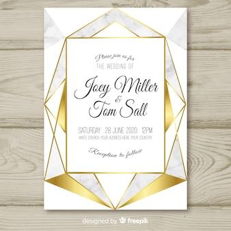 黄金の幾何学的な結婚式の招待状のテンプレート