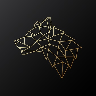 Golden geometric wolf head.