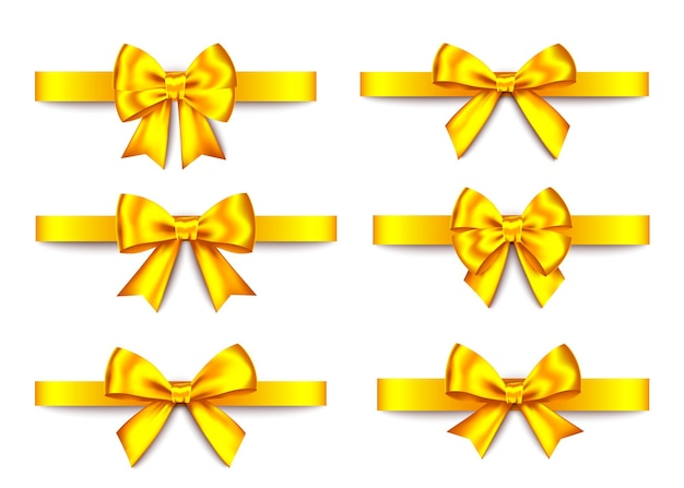 Golden  gift  bows collection  isolated on white background. christmas, new year, birthday gold decoration. vector realistic decor element  for banner, greeting card, poster.