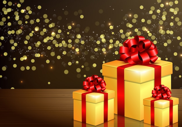 Golden gift boxes with red bow and ribbon