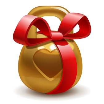 Golden gift kettlebell with a bow