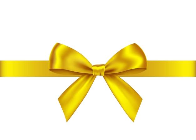 ゴールデン ギフト リボンと白で隔離される弓