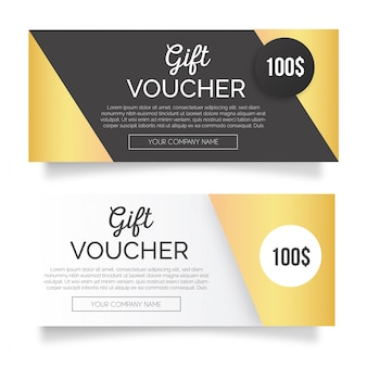 Golden gift voucher banners