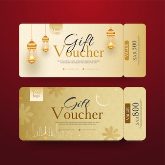 Golden gift voucher set with illuminated lanterns and different