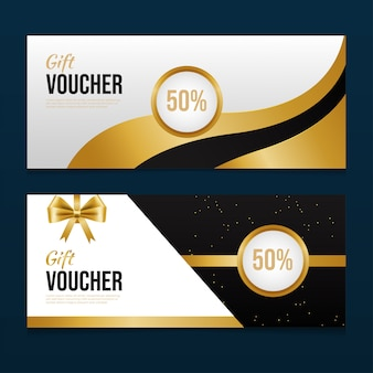 Golden gift voucher template design