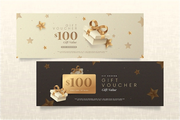 Golden gift voucher template pack