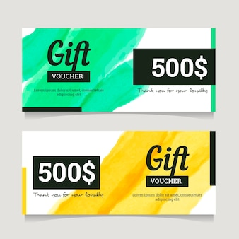 Golden gift voucher template set