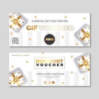 Golden gift voucher template set