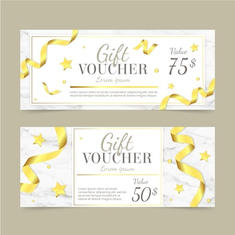 Golden gift voucher template with ribbons