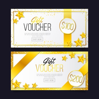 Golden gift voucher template with stars