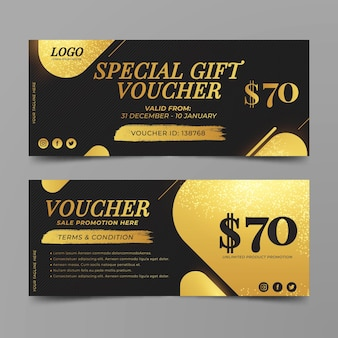 Golden gift voucher template