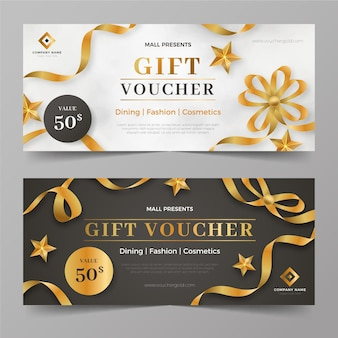 Golden gift voucher templates collection