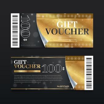 Set di modelli di voucher regalo d'oro