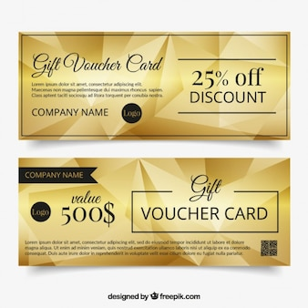 Golden gift voucher with polygons