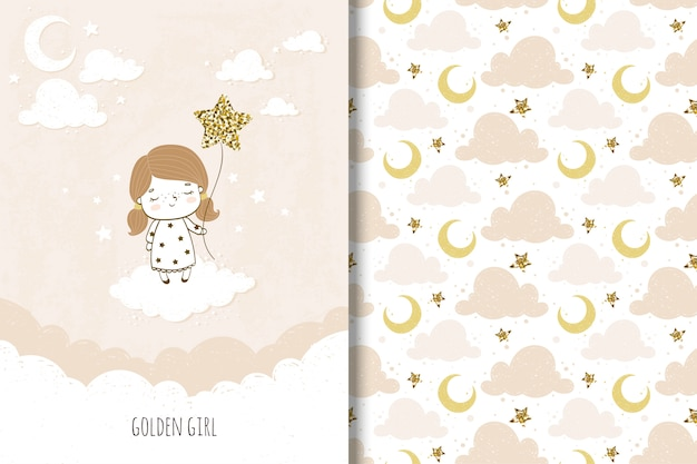 Golden girl card and seamless pattern for kids