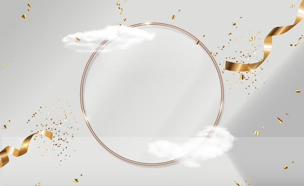 Золотая стеклянная рамка кольца, реалистичные облака и лента конфетти. модный пустой подиум