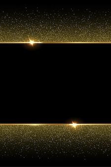 검은 바탕에 황금 반짝이와 반짝이 골드 프레임