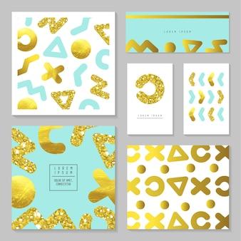 ゴールデングリッターカードテンプレートセット。招待状、ポスター、プラカード、カバーの抽象的なゴールドデザイン。