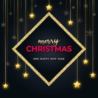 星と雪の結晶と黄金のキラキラクリスマスフレームカード