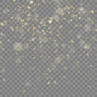 Golden glitter christmas. transparent background only in