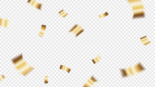 Golden glitter confetti falling up on transparent background