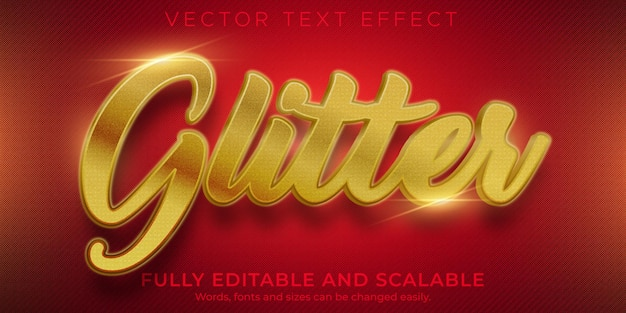 Golden glitter editable text effect and text style