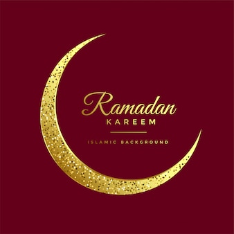 Golden glitter eid moon ramadan kareem background