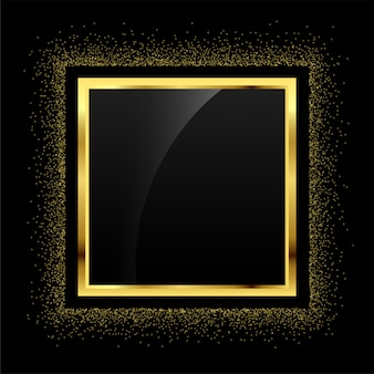 Golden glitter empty frame background