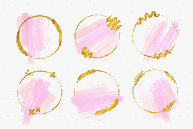 Golden glitter frame collection with watercolor brush strokes