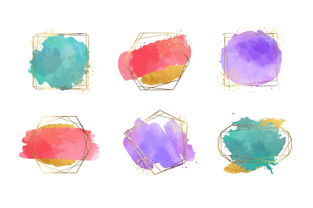 Golden glitter frame collection with watercolour brush strokes