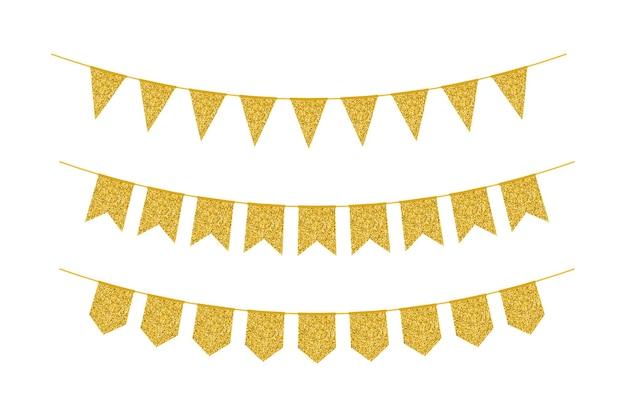 ペナントや旗から作られたゴールデングリッターガーランド
