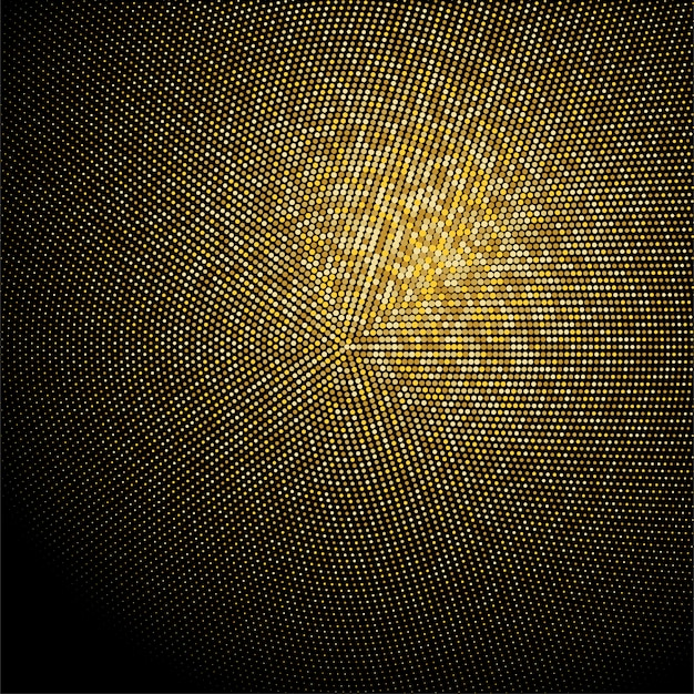 Golden glitter halftone dotted backdrop. gold retro pattern