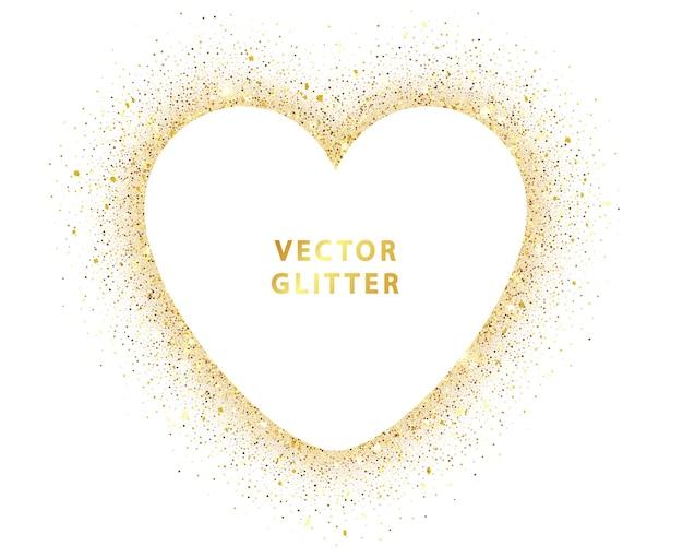 ゴールデングリッターハートフレーム。ゴールドの輝きが白に分離され、テキスト用のスペースがあります。ウェディングカード、バレンタインのデザイン、日付を保存します。テキスト用のスペースがあります。白で隔離のベクトル黄金のほこり