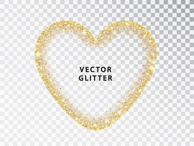 Golden glitter heart frame on transparent background. gold sparkles isolated on white with space for text. design for wedding card, valentine, save the date. with space for text.