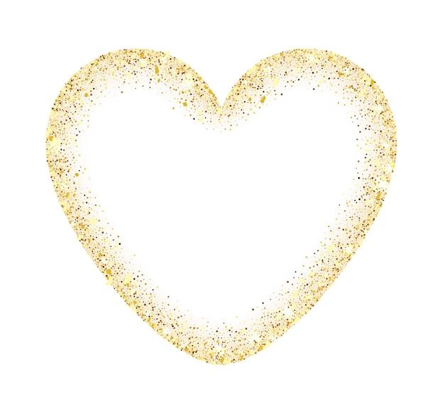 テキスト用のスペースがある金色のキラキラハートフレーム。抽象的な贅沢な輝きの黄金のベクトルの心。白で隔離されるベクトルの金色のほこり。