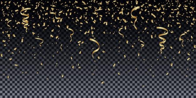 Golden glitter particles background effect.