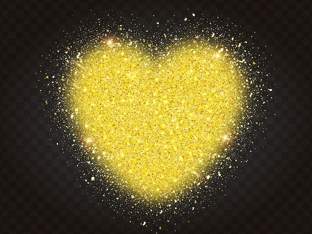 Golden glitter particles in heart shape, on transparent background. abstract gold glitter heart.