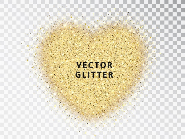 Golden glitter particles in heart shape, on transparent background. abstract luxury glow golden vector hear can be used for valentines day design