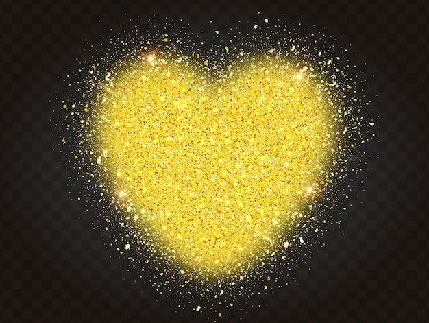 투명 한 배경에 심장 모양의 황금 반짝이 입자. 추상 금 반짝이 심장.