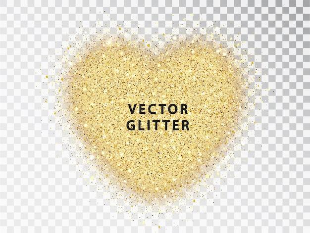 透明な背景に、ハートの形をした金色のキラキラ粒子。バレンタインデーのデザインに使用できる抽象的な豪華な輝きの黄金のベクトルを聞く