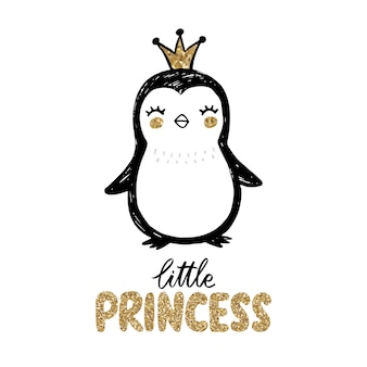 Golden glitter penguin with crown and lettering - little princess isolated on white.
