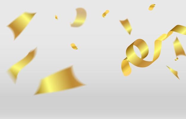 황금 반짝이 현실적인 색종이 흰색 배경 축제 그림에 날아