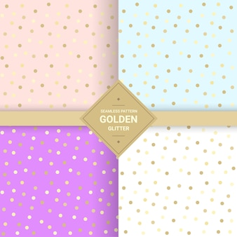 Golden glitter seamless pattern on pastel background