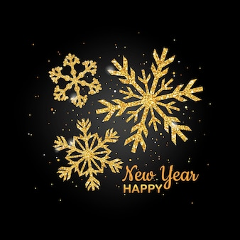 Golden glitter snowflake happy new year greeting card for your invitation, banner, calendar