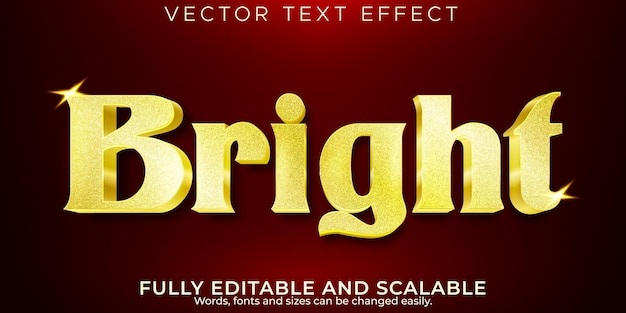 Golden glitter text effect, editable luxury and shiny text style