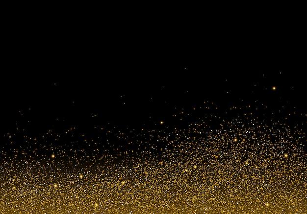 Golden glitter texture on black background
