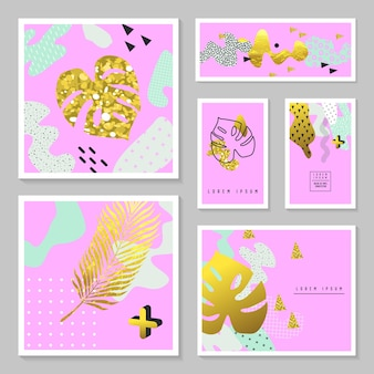 Golden glitter tropical cards set. memphis abstract poster, banner, placard template with gold palm leaves.