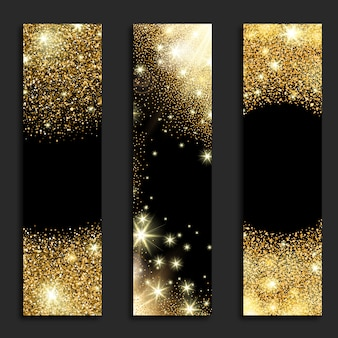 Golden glitter vertical banners