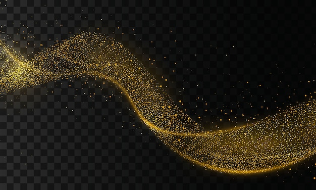 Golden glitter wave of comet trace. star dust trail sparkling particles on transparent background. gold confetti glittering wave. light effect.