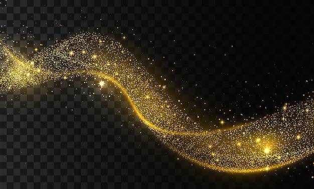 彗星トレースの黄金の輝き波。透明な背景にスターダストトレイル輝く粒子。金の紙吹雪きらびやかな波。光の効果。 。